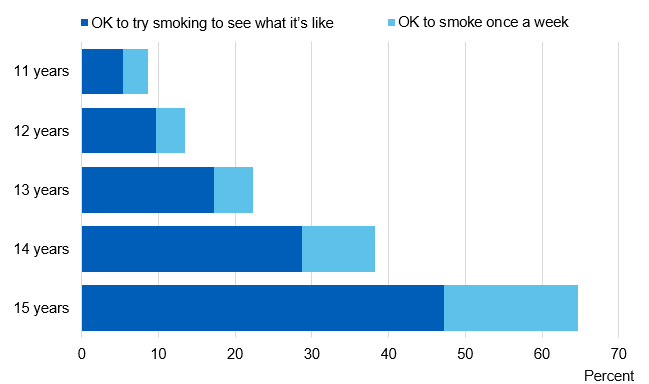Chart showing pupils attitudes to smoking by age