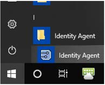 Identity agent opening from the start menu