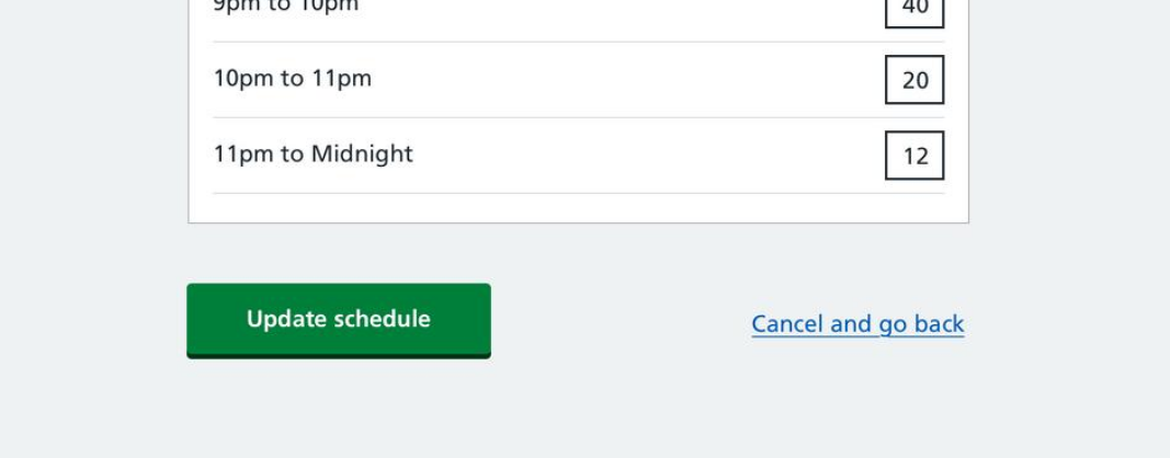 Options to update a schedule on EDDI