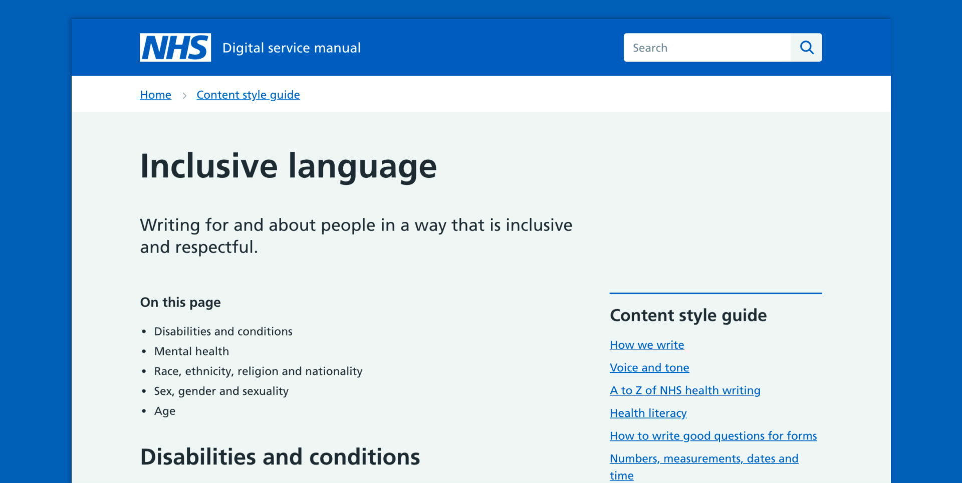 A screenshot of the digital service manual indicating inclusive language
