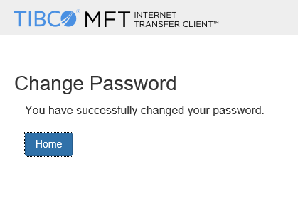 SEFT system password change success message