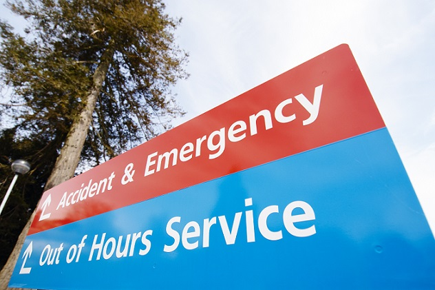Hospital sign pointing to the Accident and emergency department