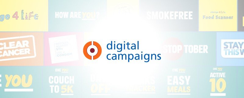 A background of faded logos with 'digital campaigns' written in the foreground