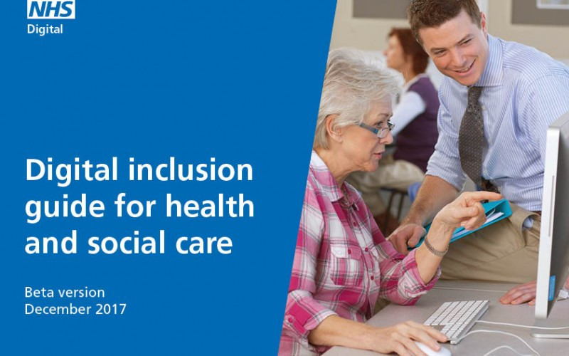 The front page of the digital inclusion guide, with photo of late-middle-aged woman being shown how to do something on a computer by a smiling man.