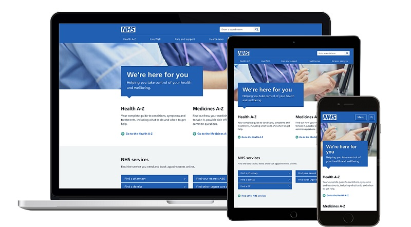 NHS website home page on computer and phone