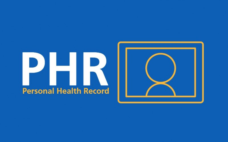 Personal Health Record 'PHR' logo on blue background