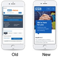 before and after of nhs.uk on a phone showing how much clearer it is now